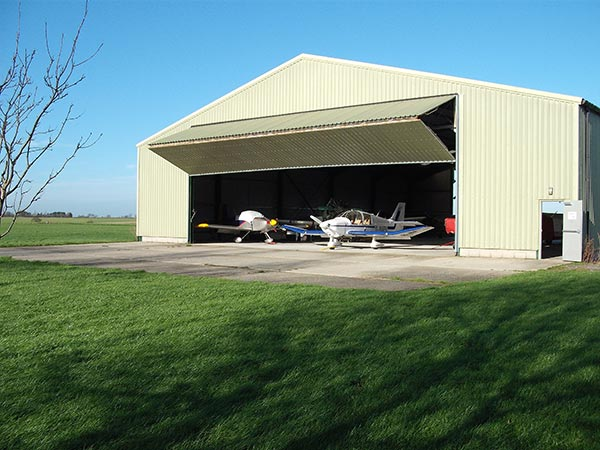 The main hangar at Great Oakley Airfield