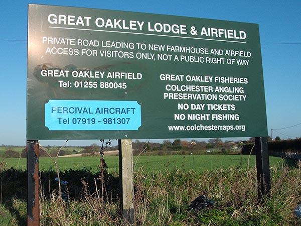 Great Oakley Airfield entrance sign
